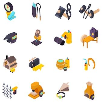 Set di icone di lavoro in metallo