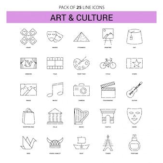 Set di icone di linea arte e cultura - 25 stile contorno tratteggiato