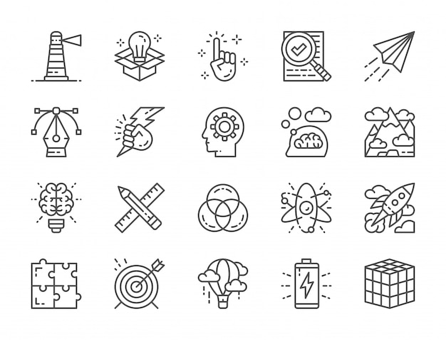 Set di icone di linea creativa. elenco di controllo, aereo di carta, innovazione, batteria e altro ancora