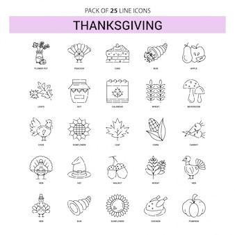Set di icone di linea del ringraziamento - 25 stile contorno tratteggiato