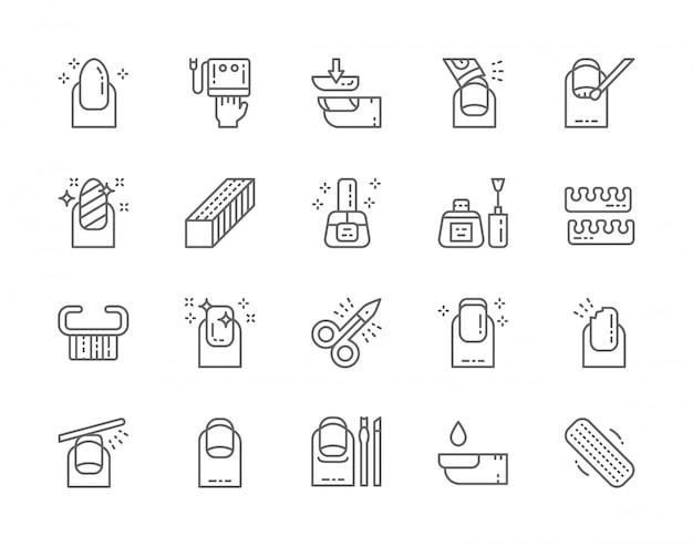 Set di icone di linea del salone del chiodo