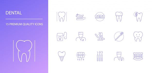 Set di icone di linea dentale