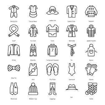 Set di icone di linea di abbigliamento