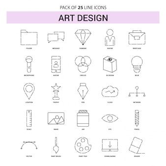 Set di icone di linea di arte e design - 25 stile di contorno tratteggiato