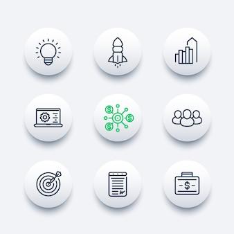 Set di icone di linea di avvio, lancio del prodotto, sviluppo, finanziamento, capitale iniziale, contratto, mercato di destinazione, clienti