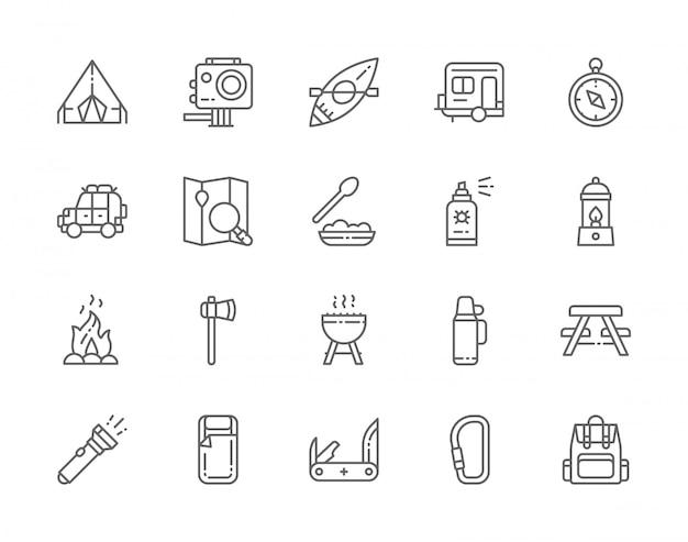 Set di icone di linea di campeggio. barbecue, canoa, rimorchio, lampada a gas, fuoco di bivacco, ascia, spray per insetti, torcia elettrica, cibo per escursionismo e altro ancora.