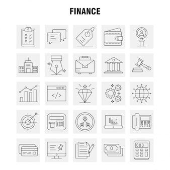 Set di icone di linea di finanza per infografica, kit ux / ui mobile