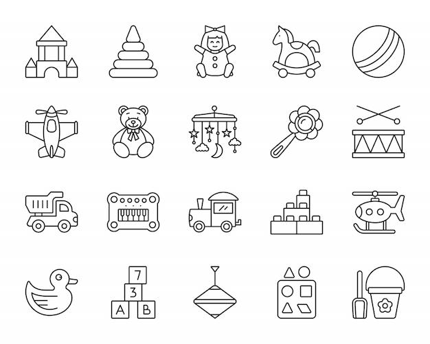 Set di icone di linea di giocattoli per bambini, segno di gioco per bambini, divertimento per bambini e gioco di attività.