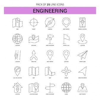 Set di icone di linea di ingegneria - 25 stile di contorno tratteggiato