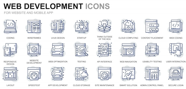 Set di icone di linea di progettazione e sviluppo web semplici per app per siti web e dispositivi mobili