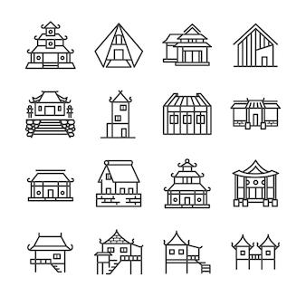 Set di icone di linea di proprietà asiatiche.