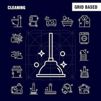 Set di icone di linea di pulizia: pennello, spazzolatura, pulito, macchia, stantuffo, bagno, servizi igienici, strumento