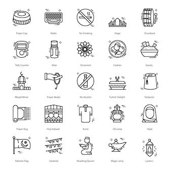 Set di icone di linea di ramadan