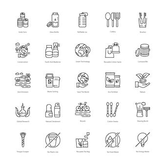 Set di icone di linea di rifiuti zero