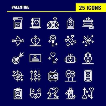 Set di icone di linea di san valentino