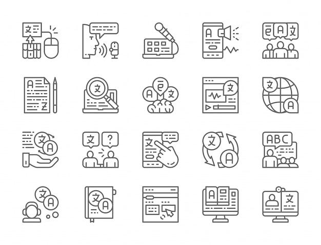 Set di icone di linea di traduzione lingua