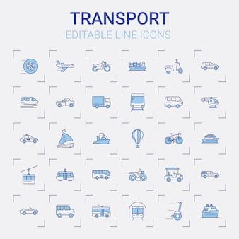 Set di icone di linea di trasporto