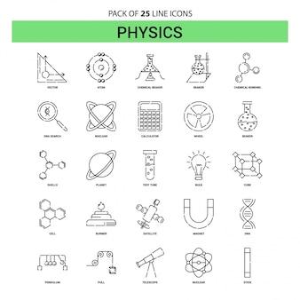 Set di icone di linea fisica - 25 stile contorno tratteggiato
