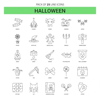 Set di icone di linea halloween - 25 stile contorno tratteggiato
