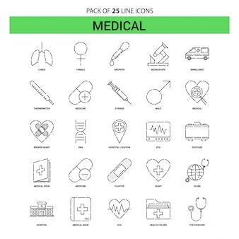 Set di icone di linea medica - 25 stile contorno tratteggiato