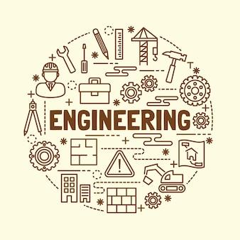 Set di icone di linea minimale di ingegneria