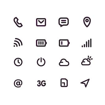 Set di icone di linea per l'interfaccia mobile e le app