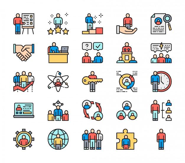 Set di icone di linea piatta colore risorse umane. dipendente, libero professionista e altro ancora.