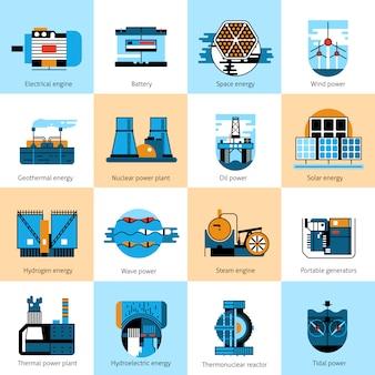 Set di icone di linea piatta di produzione di energia