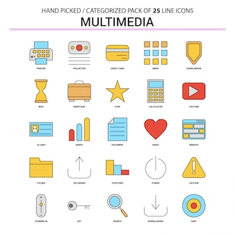 Set di icone di linea piatta multimediale