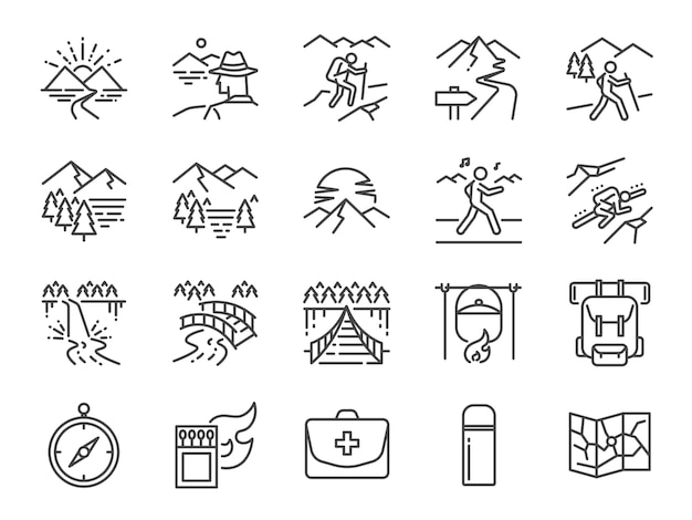 Set di icone di linea trekking.
