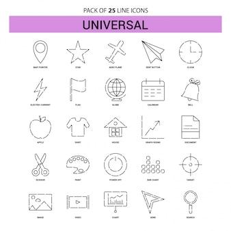 Set di icone di linea universale - 25 stile contorno tratteggiato