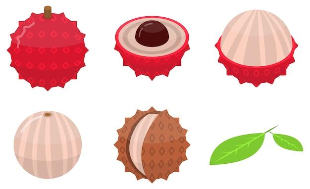 Set di icone di litchi, stile isometrico
