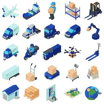 Set di icone di logistica e consegna. un'illustrazione isometrica di 25 icone di vettore di consegna e logistiche per il web