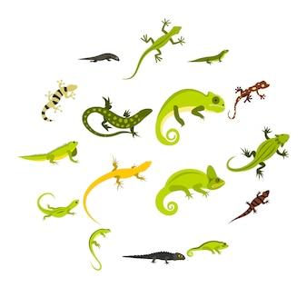 Set di icone di lucertola, stile piano