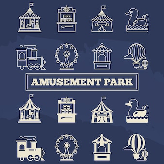 Set di icone di luna park linea sottile e silhoette