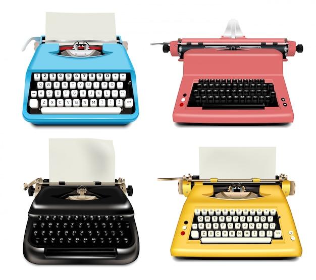 Set di icone di macchina da scrivere. insieme realistico delle icone di vettore della macchina da scrivere isolate