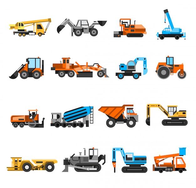 Set di icone di macchine per la costruzione