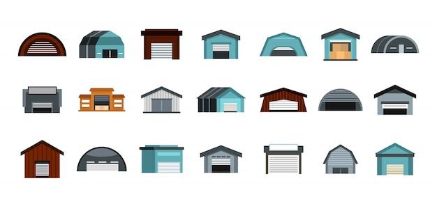 Set di icone di magazzino. insieme piano della raccolta delle icone di vettore del magazzino isolato