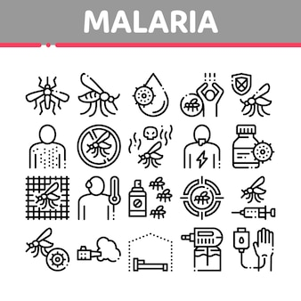 Set di icone di malaria malattia dengue collection