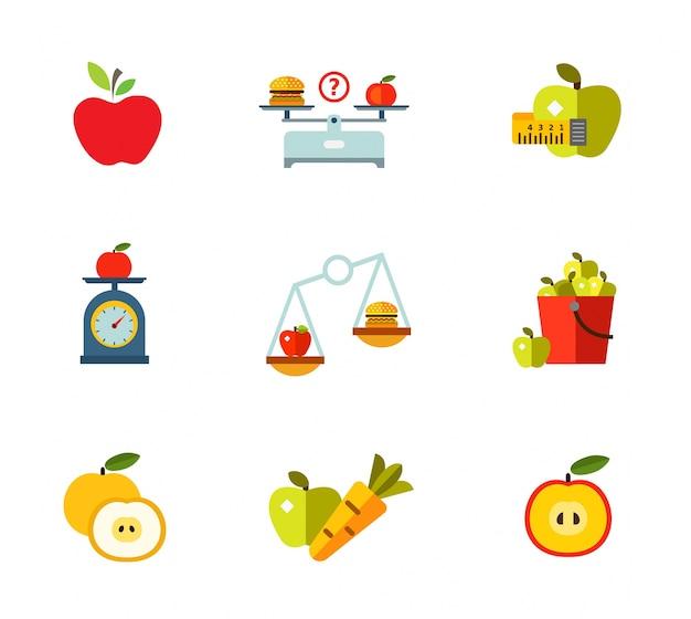 Set di icone di mangiare sano