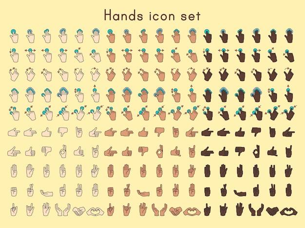 Set di icone di mani