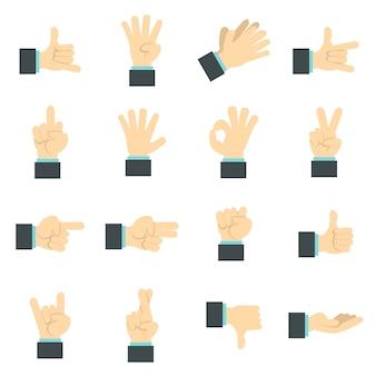 Set di icone di mano, piatto piatto