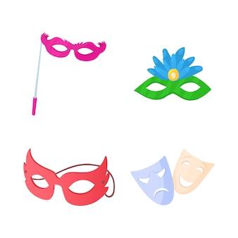 Set di icone di maschera di carnevale