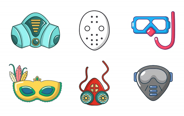 Set di icone di maschera. l'insieme del fumetto delle icone di vettore della maschera ha messo isolato