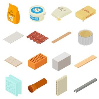 Set di icone di materiali da costruzione. un'illustrazione isometrica di 16 materiali da costruzione vector le icone per il web