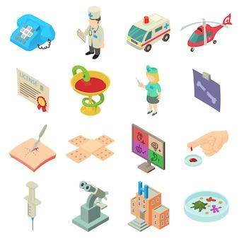 Set di icone di medicina. un'illustrazione isometrica di 16 icone di vettore di medicina per il web