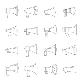 Set di icone di megafono altoparlante