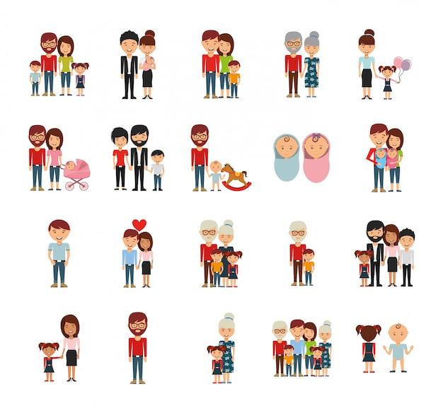 Set di icone di membri della famiglia