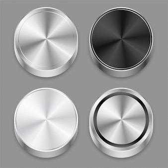 Set di icone di metallo spazzolato circolare 3d realistica