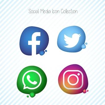 Set di icone di mezzi di comunicazione sociale memphis fluido creativo